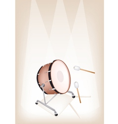 Classical bass drum on brown stage background vector