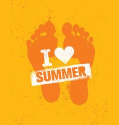 hello summer bright creative footprint sand beach vector image