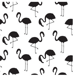 Flamingo black silhouette seamless texture vector