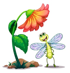 A smiling dragonfly below the giant flower vector