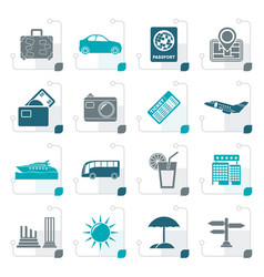 Stylized travel and vacation icons vector