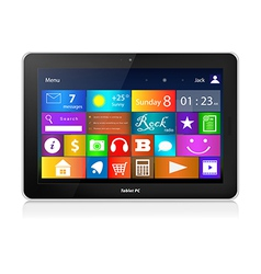 Black tablet pc with metro interface vector