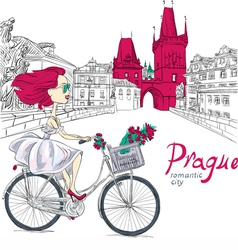 Fashion girl in white dress on bike in prague vector