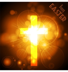 Easter cross on a golden glowing background with vector