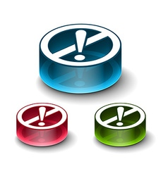 3d glossy attention icon vector