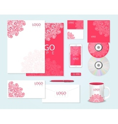 Corporate identity template with floral ornament vector