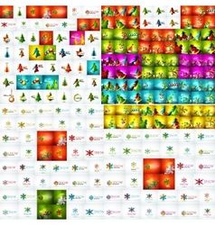 Mega collection of christmas abstract backgrounds vector