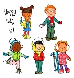 Happy kids - part 1 winter edition vector