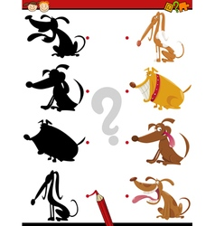 Shadow task with dogs for kids vector