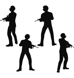 Businessman soldier stand vector