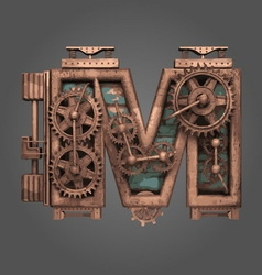 M rusted letter with gears vector