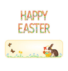 banner happy easter bunny and basket vector image vector image