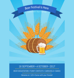 beer festival is here on blue vector image