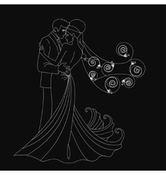 Black silhouette kissing vector image