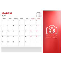 Calendar planner template for march 2017 week vector