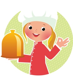Chef girl with hot plate vector