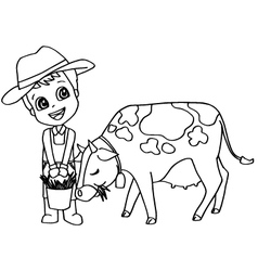 Coloring book or page child feeding cow vector