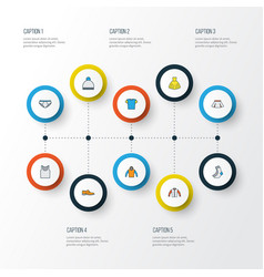 Dress colorful outline icons set collection of t vector