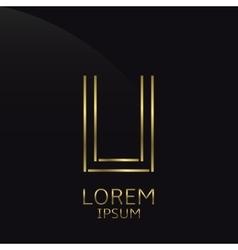 Golden U Letter vector image vector image