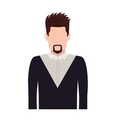 Half body silhouette man with van dyke beard vector