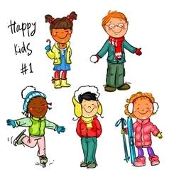 Happy kids - part 1 winter edition vector