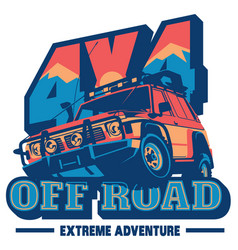 off-road car logo safari suv expedition vector image vector image