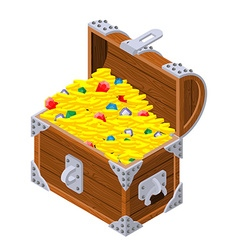 Open treasure chest isometrics Old casket with vector image vector image