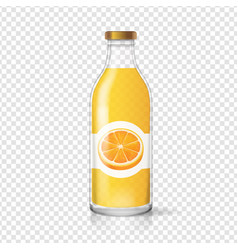 Orange juice bottle glas with juice label vector