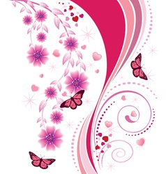 Pink floral ornament vector image