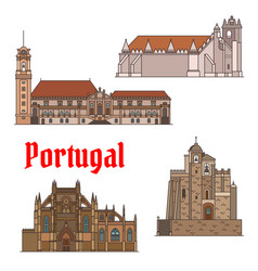 Portuguese travel landmarks thin line icon set vector