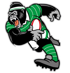 rugby gorilla mascot vector image vector image