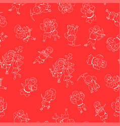 seamless happy valentine day pattern hand drawn vector image