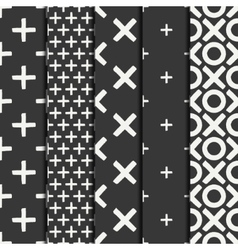 Set of hand drawn geometric seamless ink pattern vector image vector image