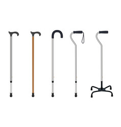 Set of walking sticks telescopic aluminum cane vector