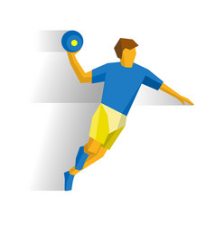 Sportsman running with ball in hand handball vector