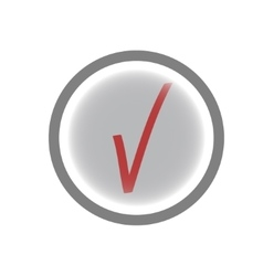 Tick red sign in gray circle vector image