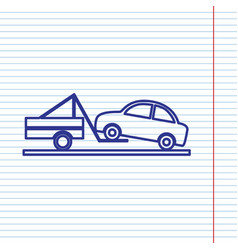 Tow truck sign navy line icon on notebook vector