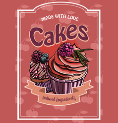 vintage cakes with cream poster design vector image