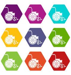 wheelchair icon set color hexahedron vector image vector image