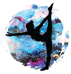 Women silhouettestanding bow pulling yoga pose vector