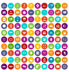 100 clock icons set color vector