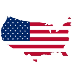 flag of the United States of America on a map vector image