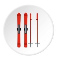 Skis and sticks icon flat style vector