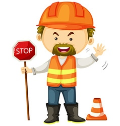 Road worker with stop sign vector