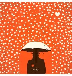 Men under umbrella on hearts shapes rainy vector image