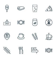 Set of 16 food icons includes lemonade pepperoni vector