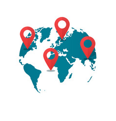 World map destination pins concept of global gps vector