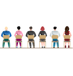 People sitting back view vector