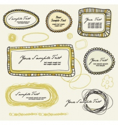Various doodle labels graphic vector
