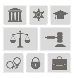 Icons with symbols of law and courts vector